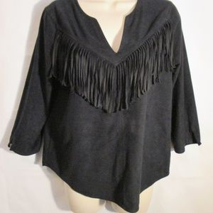 Express S/P faux suede fringe western style top